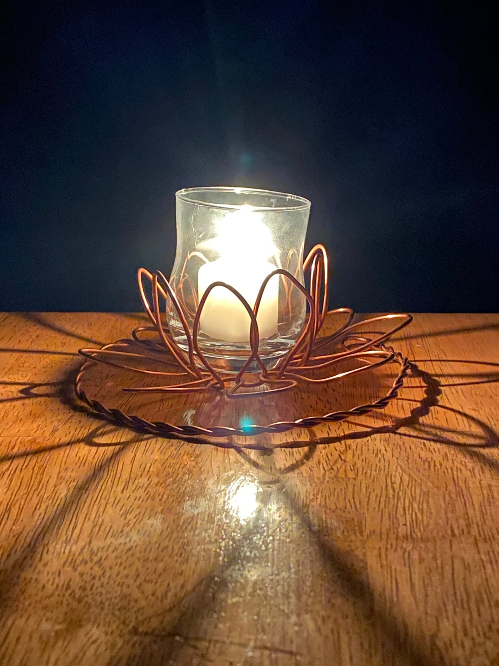 Copper Flower Candle Holder