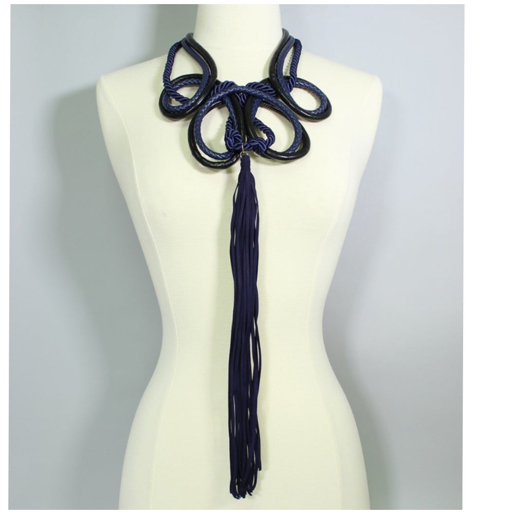 Image of Dahlia Leather Loop Statement Necklace