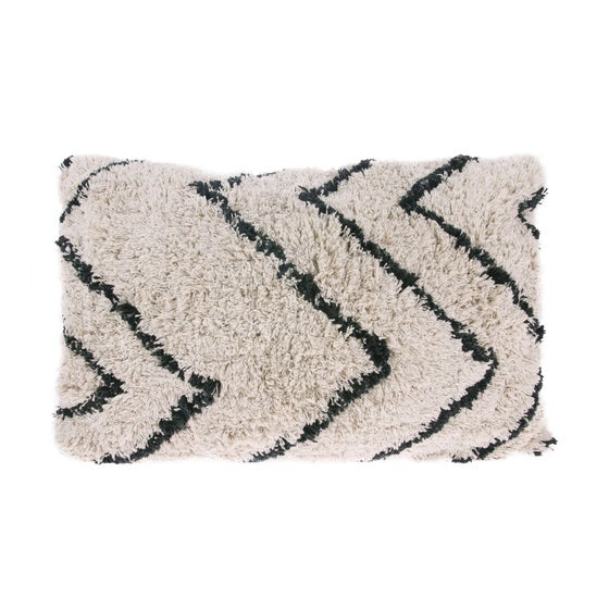 Image of Cotton zig zag shaggy cushion