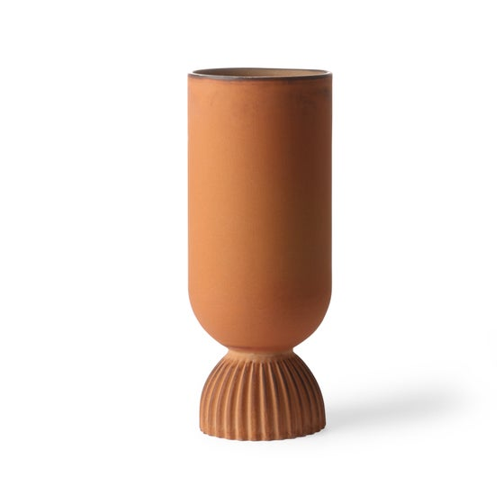 Image of Ribbed ceramic burnt orange vase
