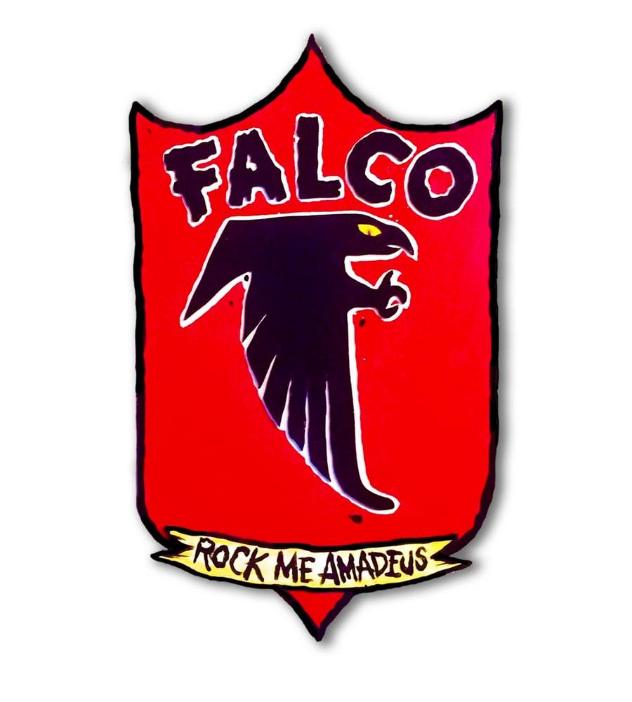 "Image of Falco ''Rock me Amadeus"" sheild  original art on wood"
