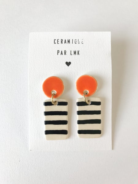 Image of Paire de boucles d'oreilles céramique TOTEM RECTANGLE MM rayures et orange