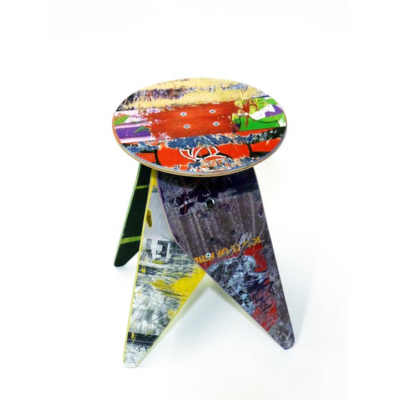 Image of Flat Top Side Table or Stool - Recycled Skateboards with 12.5 inch Diameter Top