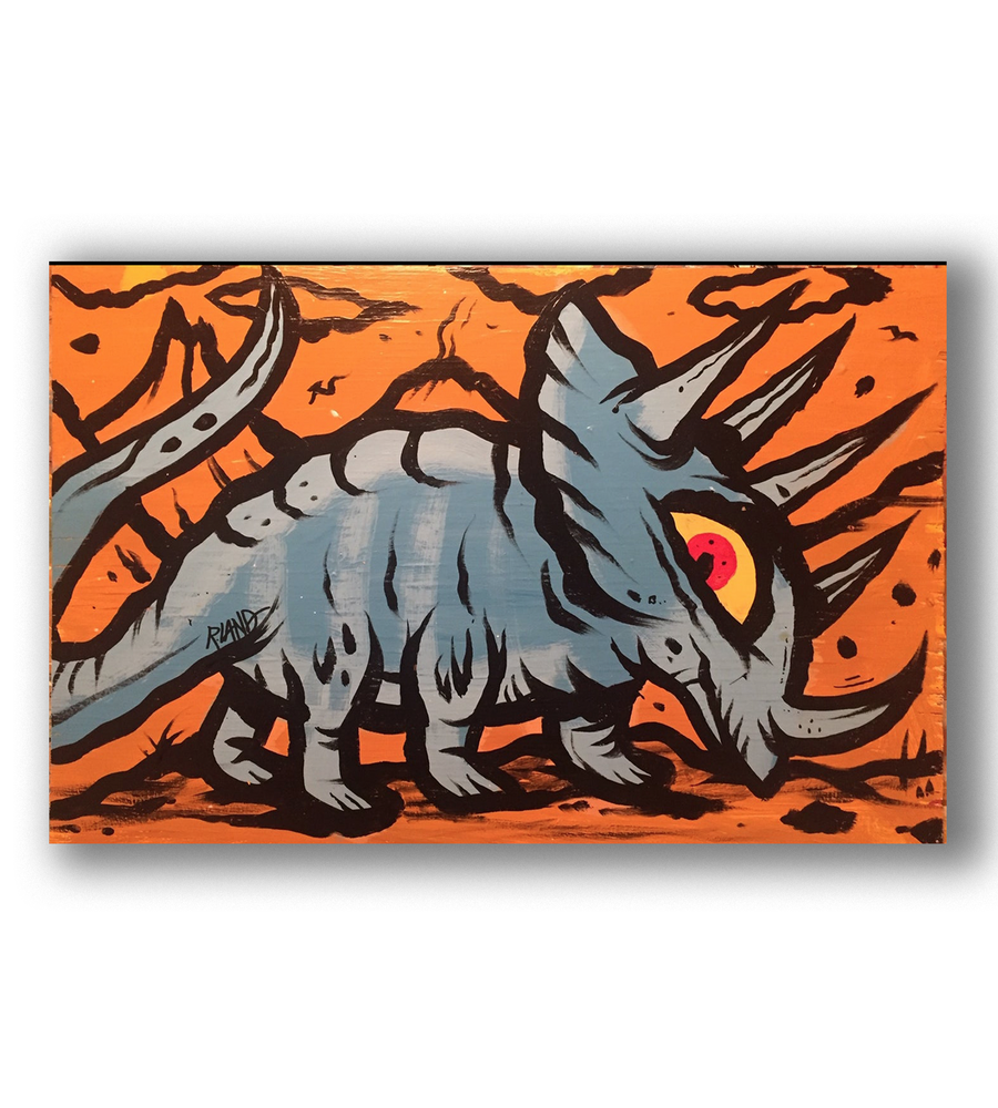 "Image of ""Horned lizard"" original painting on wood"
