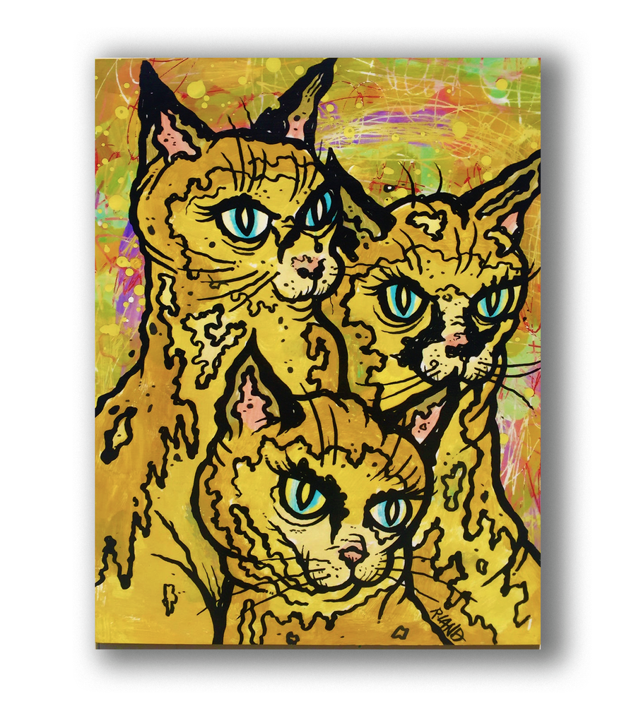 "Image of New! ""Los Tres Gatos"" print on wood"