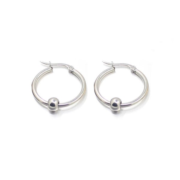 Image of Coheed ball sleeper hoop earrings (stainless steel)