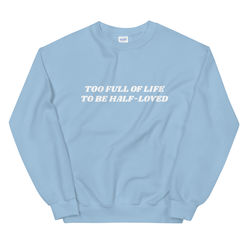 Image of 'TOO FULL OF LIFE' BLUE SWEATER