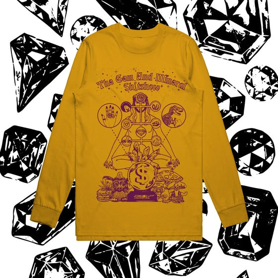 "Image of ""GEM AND MINERAL SHITSHOW"" - Gold Longsleeve Shirt"
