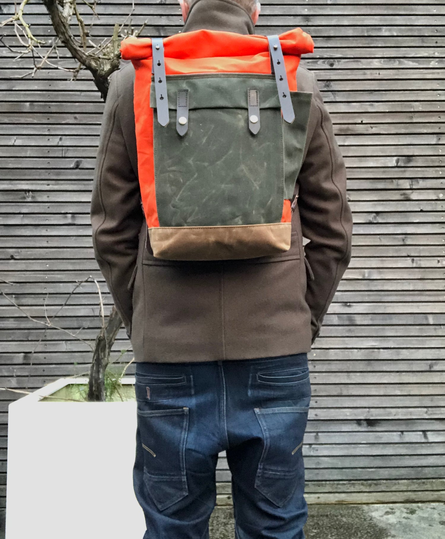 Image of Orange waxed canvas leather Backpack medium size  / Hipster Backpack with roll top