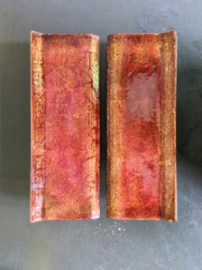 Image of Italian Enamel Door Handles in Pink Burnt-Orange & Gold Tones