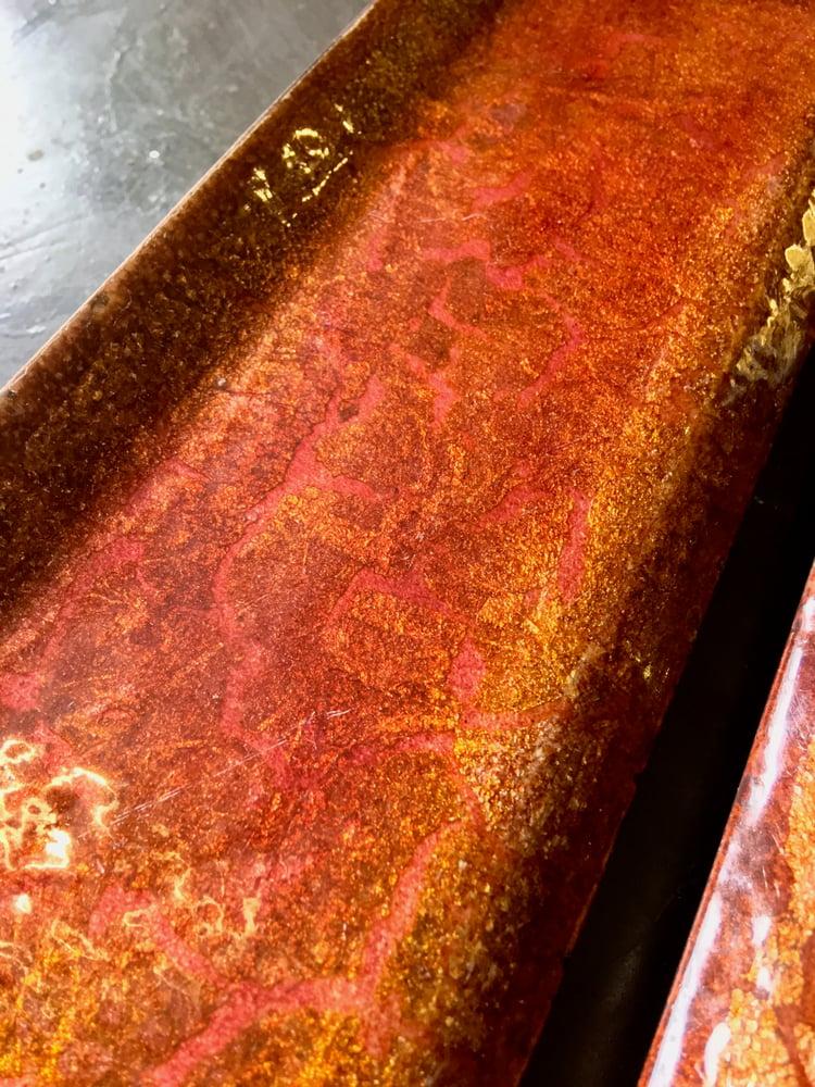 Image of Italian Enamel Door Handles in Pink Burnt-Orange & Gold Tones