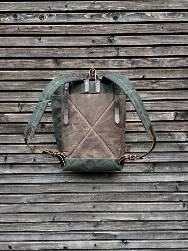 Image of College backpack in waxed canvas / waterproof rucksack with roll up top and double closure COLLECTIO