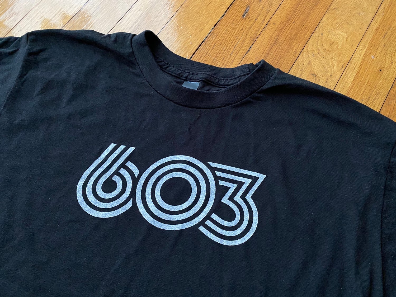 Image of Black 603 retro t-shirt