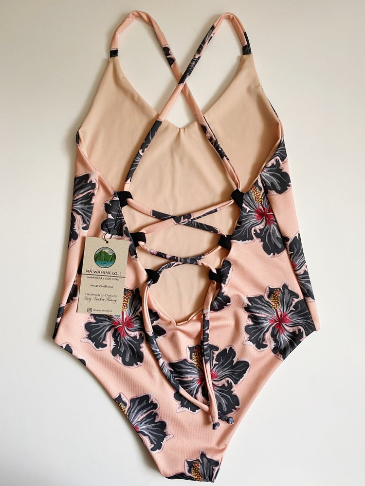 Image of Ready to ship- S-L EZ peach hibiscus moe one piece