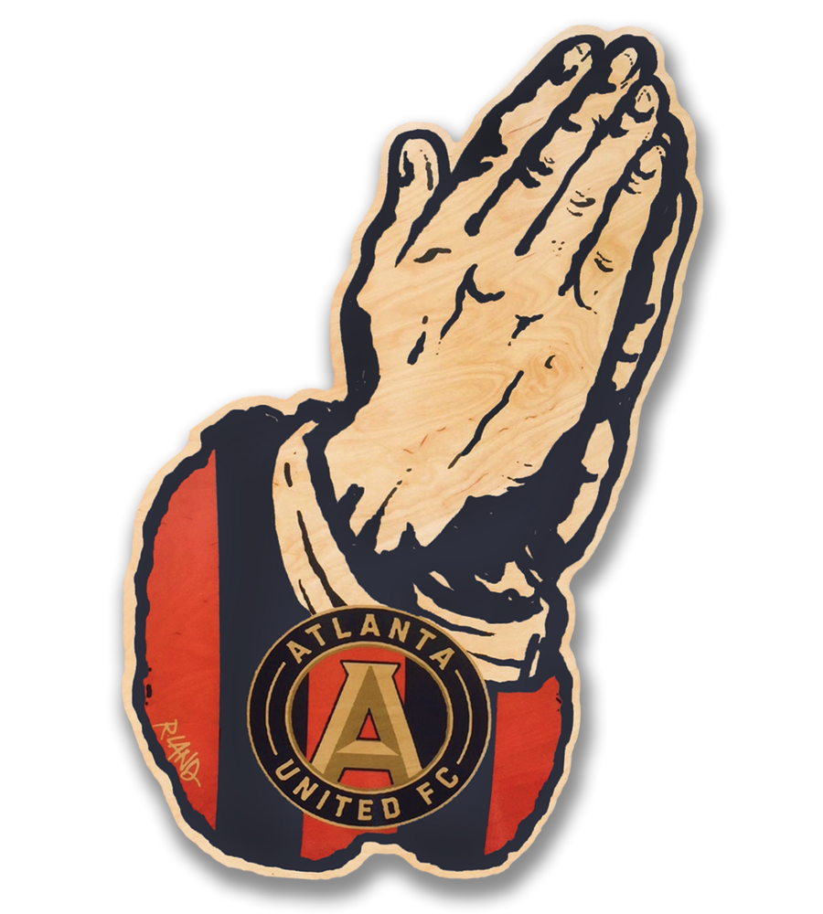 Image of Pray for ATL UTD art print on wood.