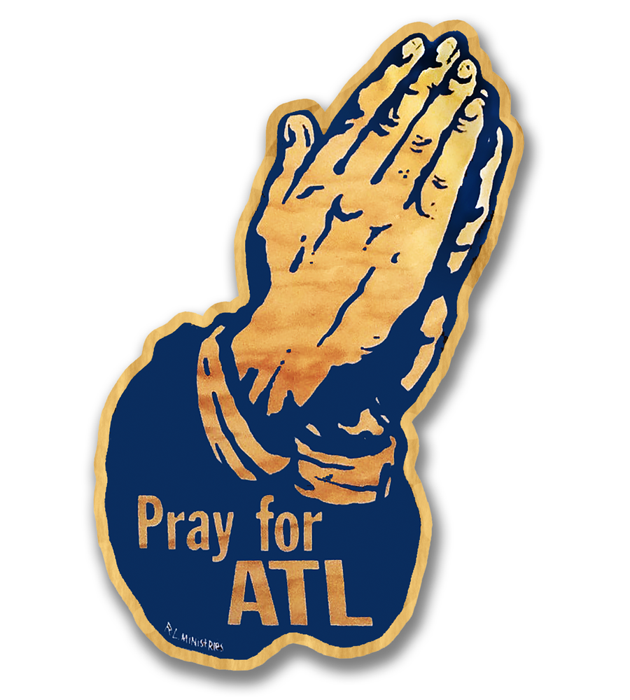 Image of Pray for ATL-(Blue on wood)