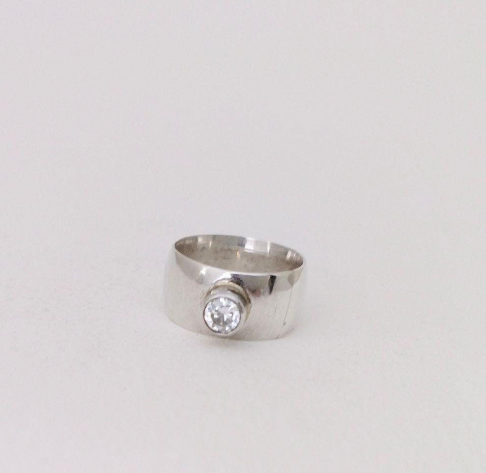 Hammered Silver + CZ Cocktail Ring
