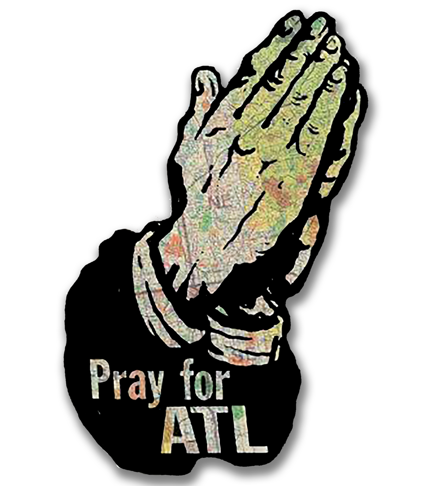 Image of Jumbo Vintage Map Pray For ATL Wall Art