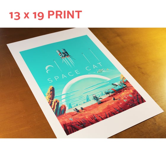 Image of 13 x 19 - Space Cat Print - 'No SpaceCat's Sky'