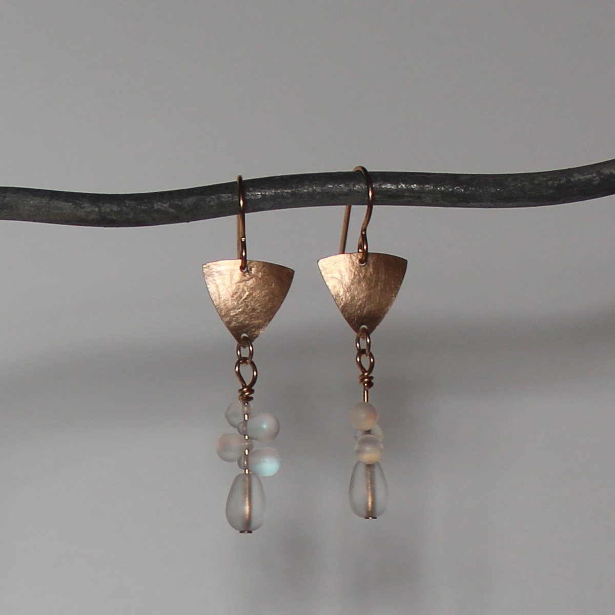 Textured Bronze Earrings with Czech Glass - Long
