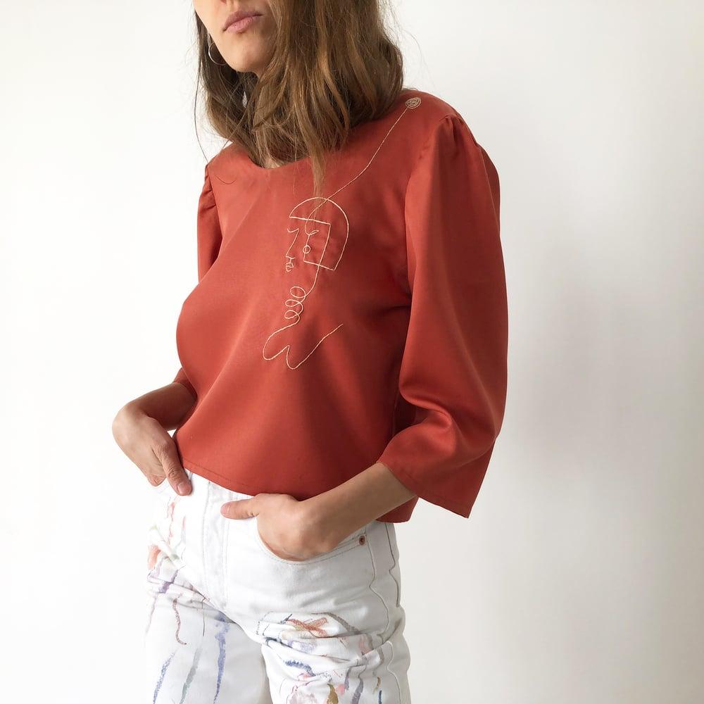 Image of Pre-order:Margareth shirt in terracotta 100%organic tencel, handmade-Berlin, hand embroidered -Paris