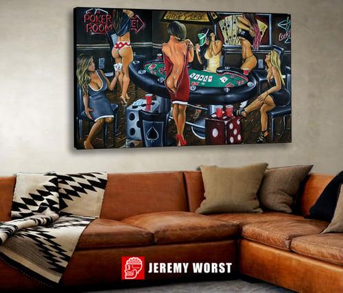 Image of Strip Poker Full by Jeremy Worst #poker #sexy #mancave #gameroom #wallart