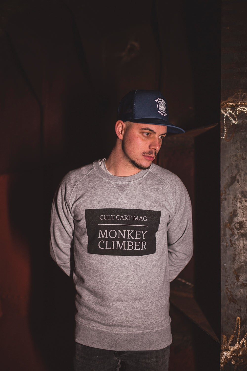 Image of Monkey Climber Cult Crewneck sweater I Heather Grey