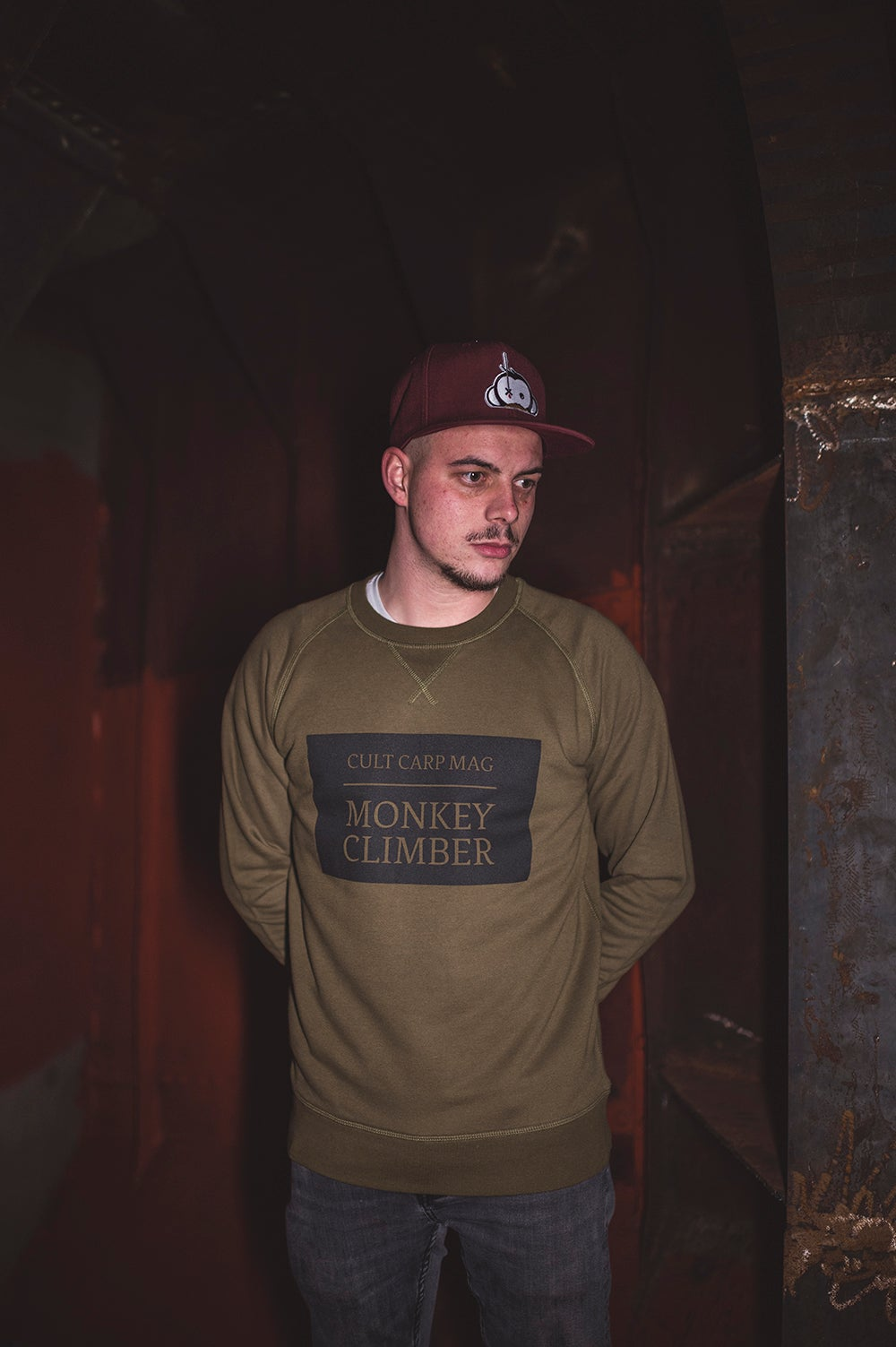 Image of Monkey Climber Cult Crewneck sweater I Dark Olive