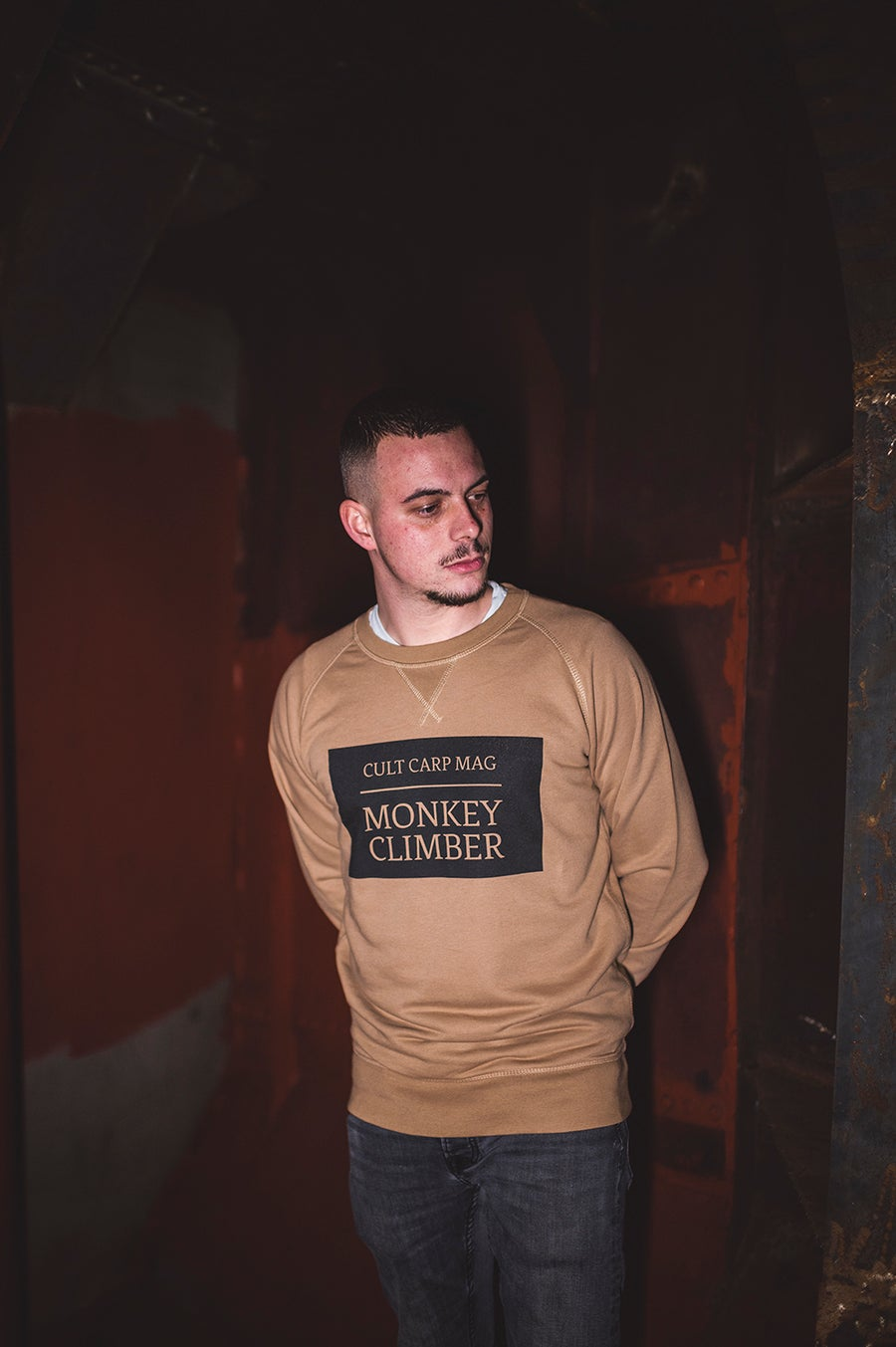 Image of Monkey Climber Cult Crewneck sweater I Camel Brown