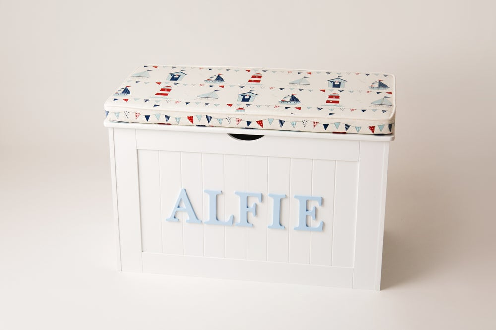 Image of Personalised Chest - Cushion Top (Boy Fabrics)