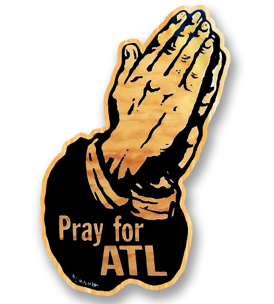 Image of Pray for ATL -black w/woodgrain
