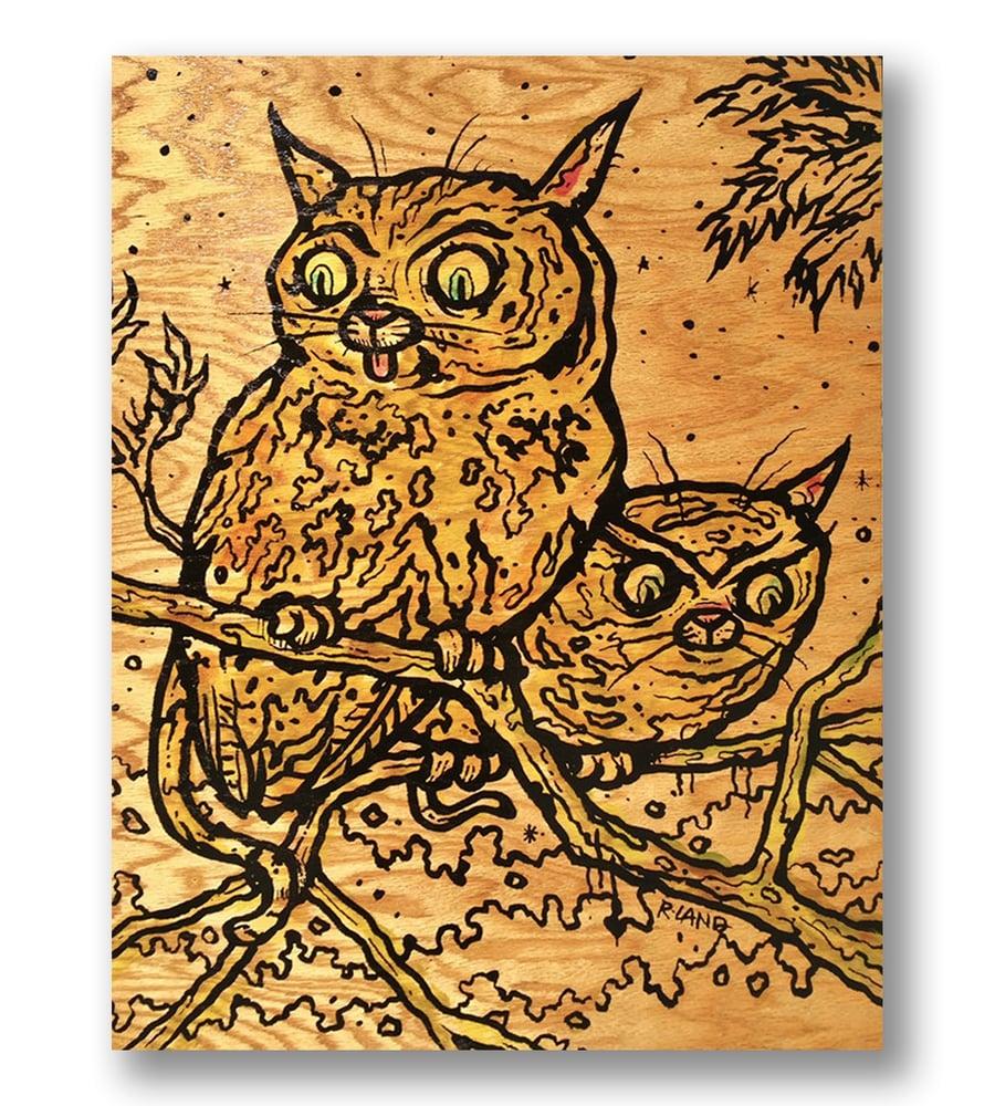 Image of New! Meowls print on wood