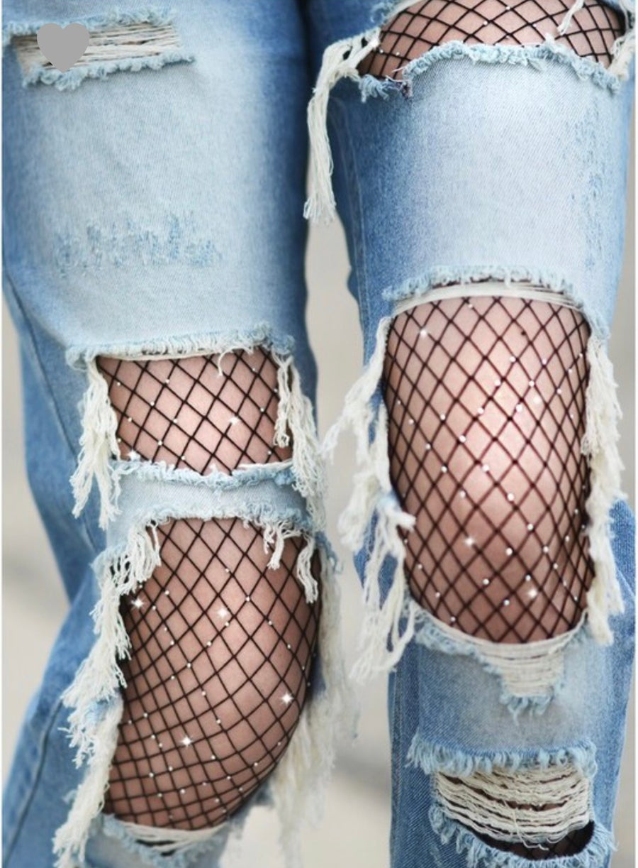 "Image of ""Rhinestone"" Fishnet Stocking"