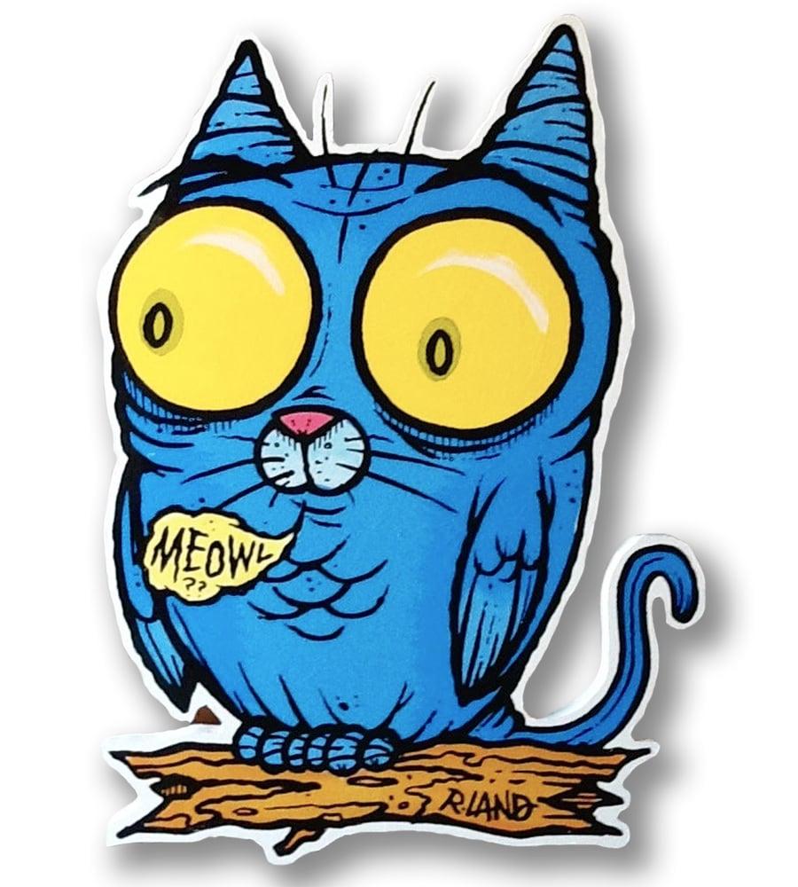 Image of Blue Meowl Print On Wood