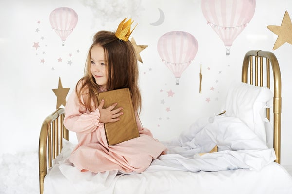 Image of Hot Air Balloons (x3) Wall Stickers + Moon & Stars (Soft Blush Pink)