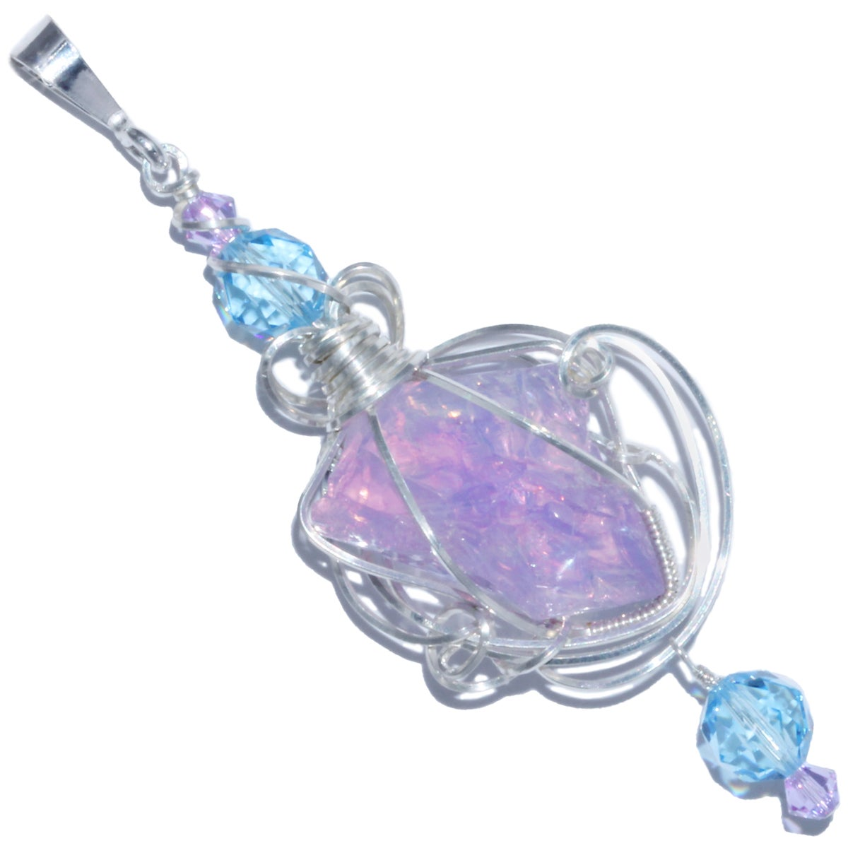 Opalized Lavender Moon Quartz Handmade Pendant