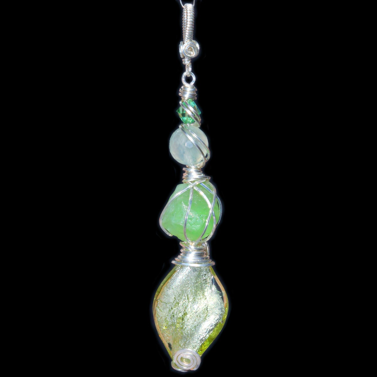 Peridot Crystal Handmade Pendant with Venetian Glass Foil Bead