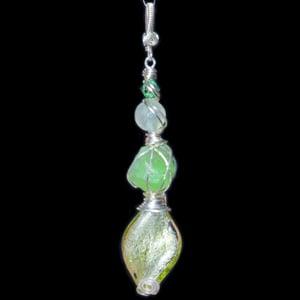 Image of Peridot Crystal Handmade Pendant with Venetian Glass Foil Bead