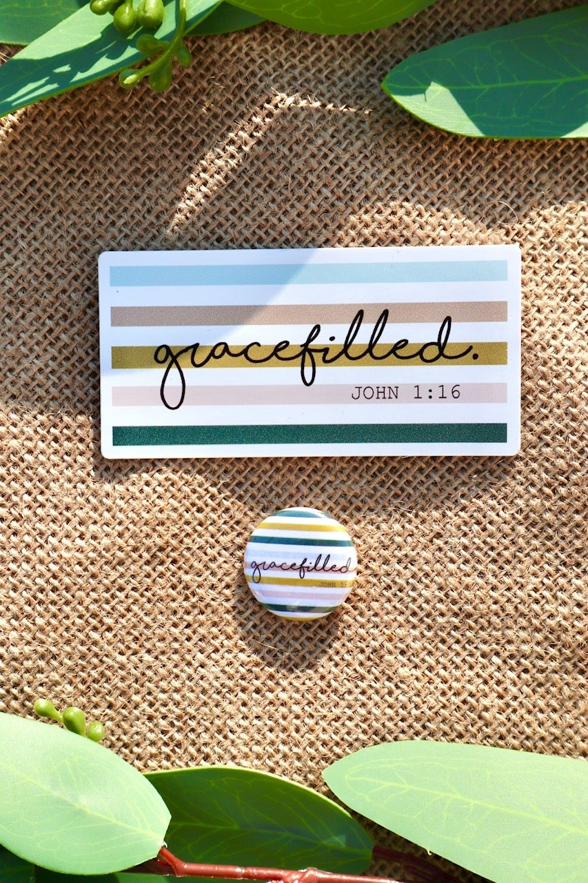 Image of Gracefilled. Sticker and Pin