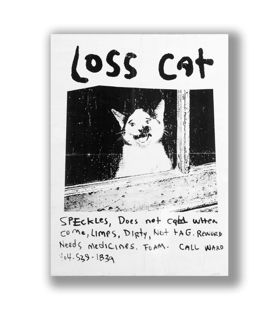 Image of Loss Cat Print On Wood