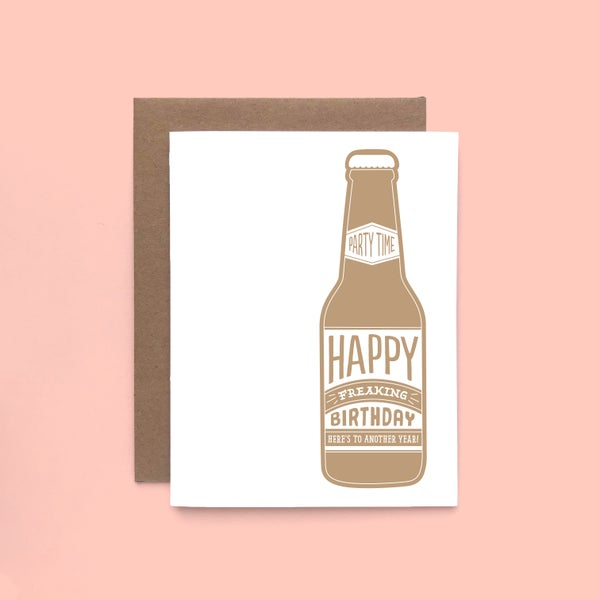 Image of beer birthday letterpress card