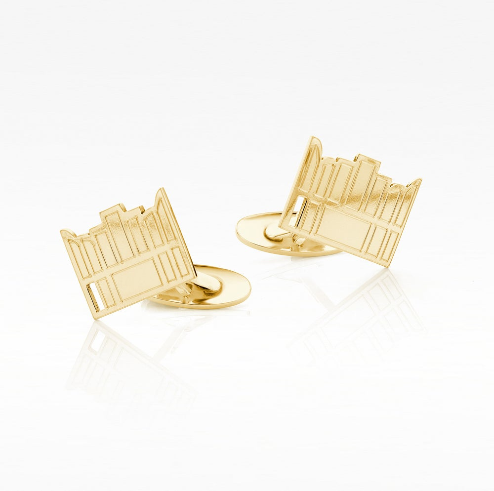 Image of cufflinks 'OMG Van Eyck was here'  goldplated silver - manchetknopen verguld zilver