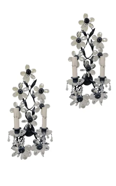 Image of Pair of Early 20th Century Maison Baques Style Flower Prism Sconces