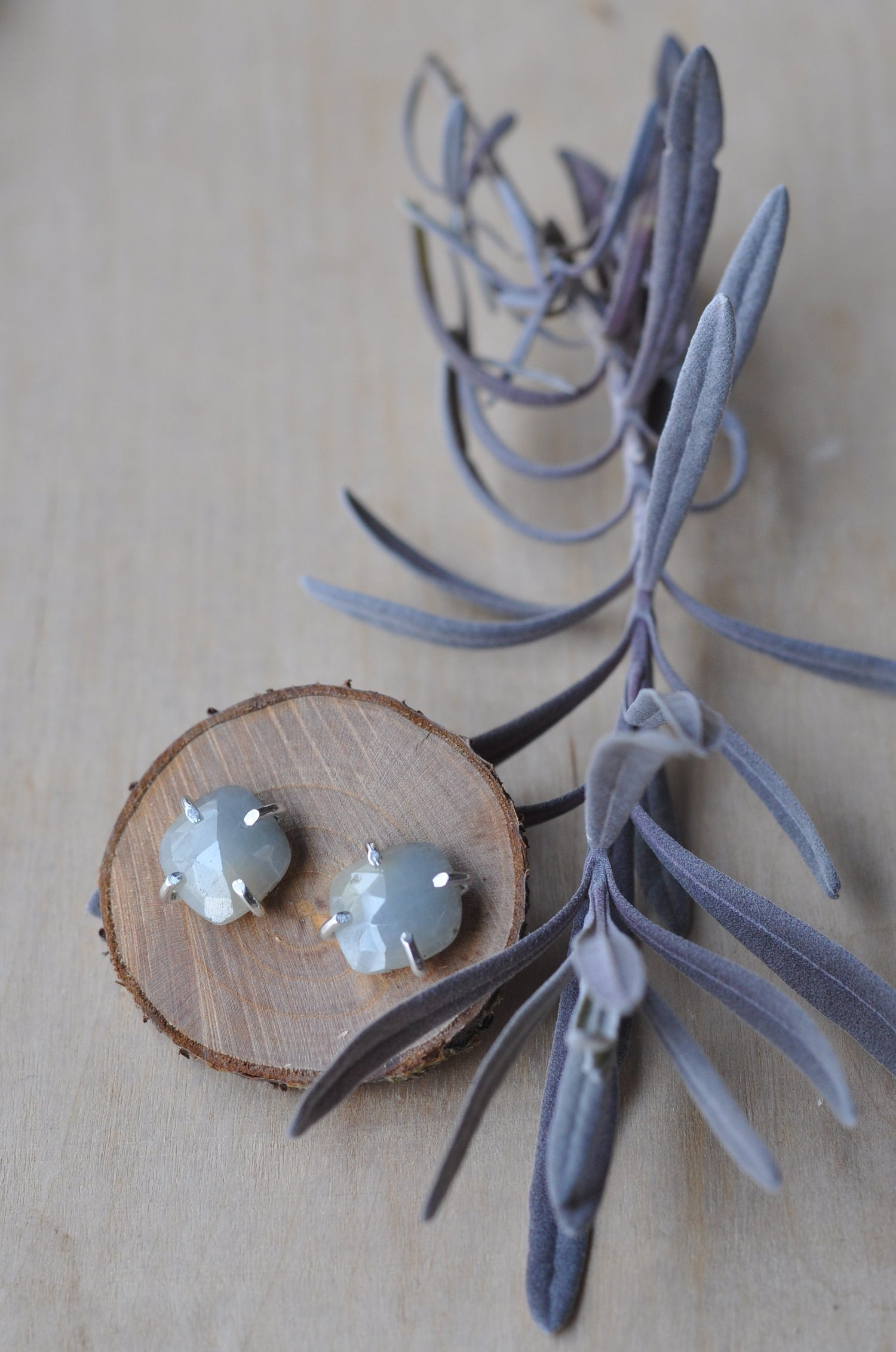 Image of Muted Blue Rainbow Sapphire Studs in Sterling Silver
