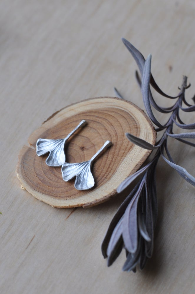 Image of Ginkgo Leaf Studs in Sterling Silver