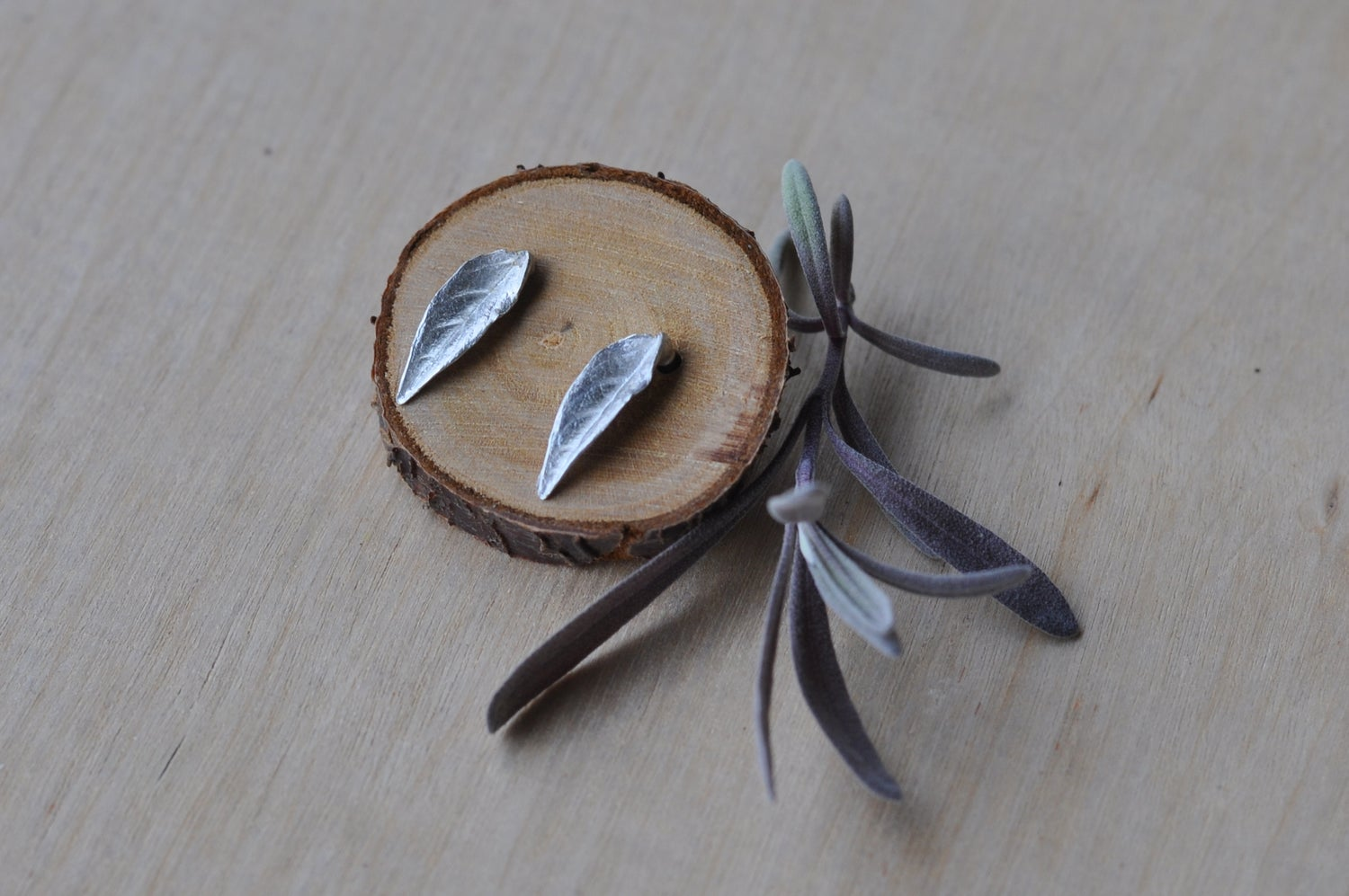 Image of Tiny Leaf Studs in Sterling Silver