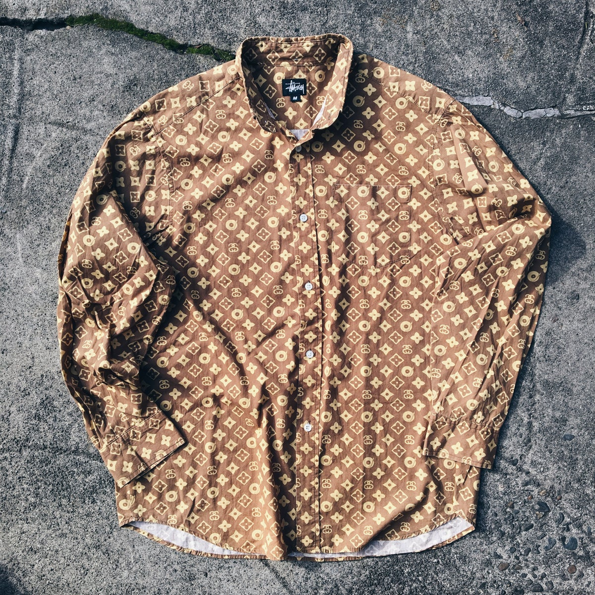 Image of Original Early 2000's Stussy Monogram L/S Button Up.