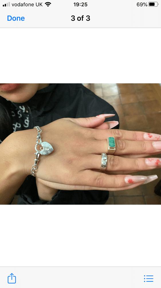 Image of Silver Heart Padlock Bracelet