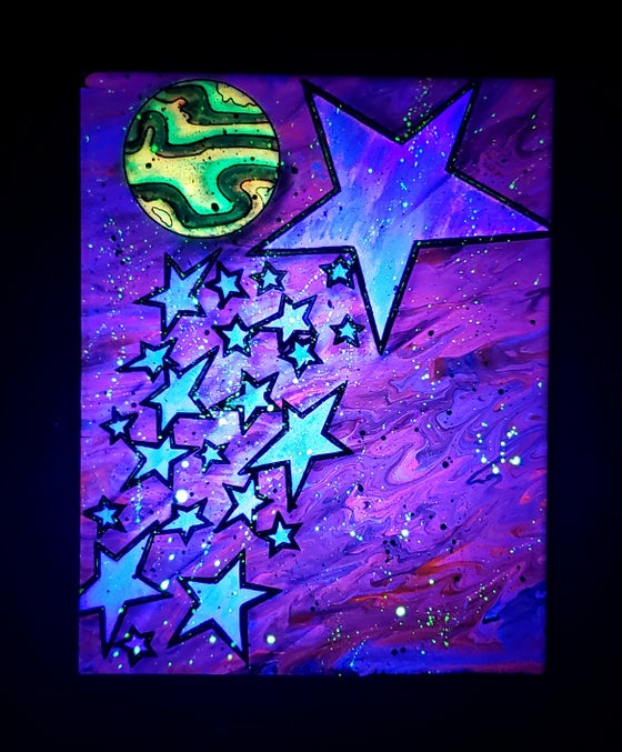 Image of 11x14 Shooting stars paint pour canvas