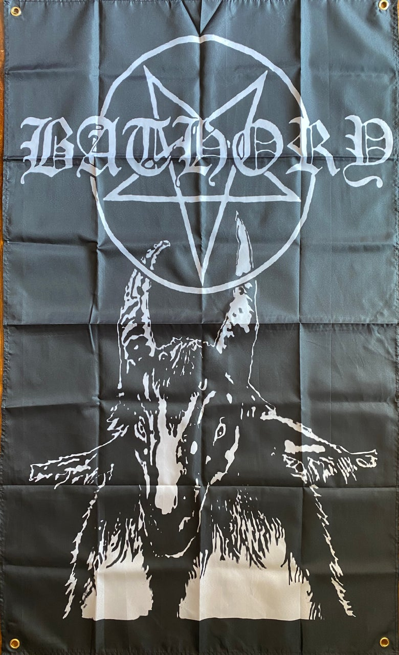 "Image of Bathory""  Pentagram Goat ""    Banner / Tapestry / Flag"